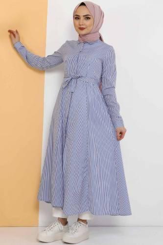Striped Long Tunic TSD1800 Blue - Thumbnail