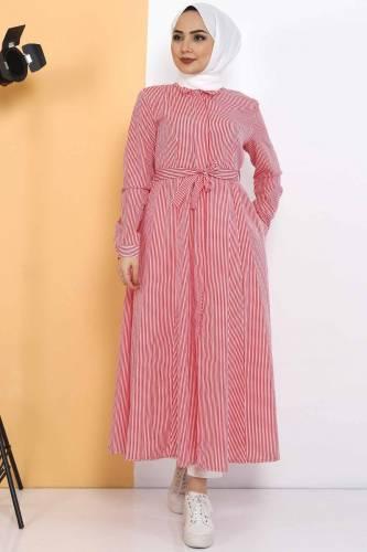 Striped Long Tunic TSD1800 Red - Thumbnail