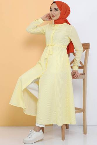 Tesettür Dünyası - Striped Long Tunic TSD1800 Yellow (1)