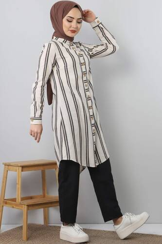Striped Suit TSD3988 brown - Thumbnail