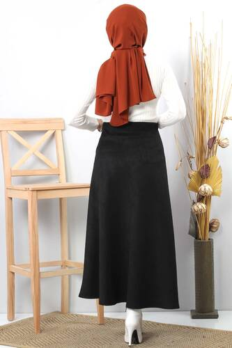 Suede Skirt TSD0811 Black - Thumbnail