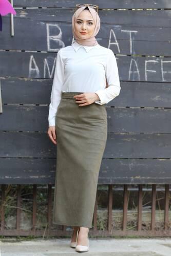 Tesettür Dünyası - Suede Skirt TSD1745 Khaki