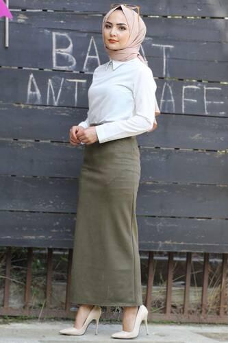 Tesettür Dünyası - Suede Skirt TSD1745 Khaki (1)