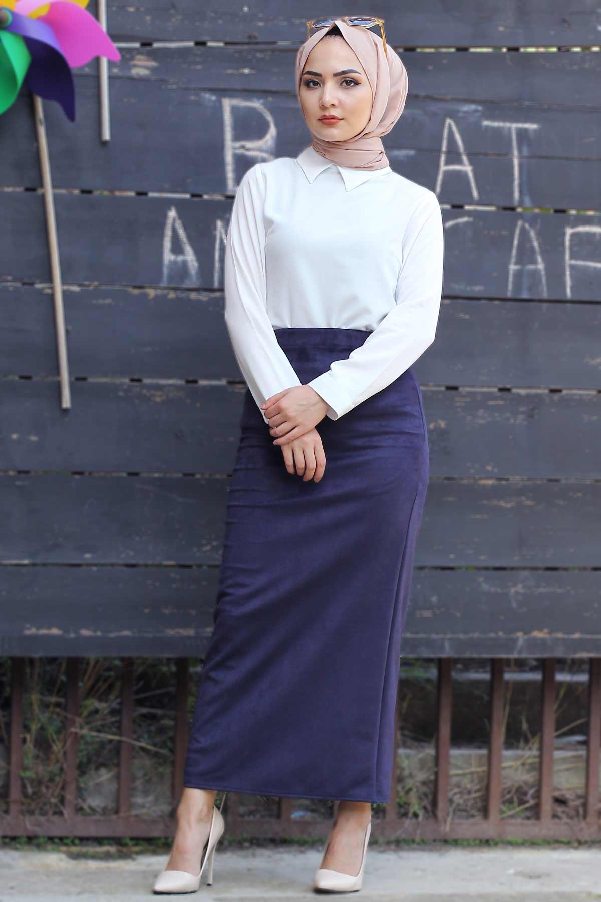 Suede Skirt TSD1745 Navy Blue