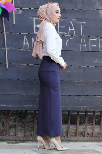 Suede Skirt TSD1745 Navy Blue - Thumbnail