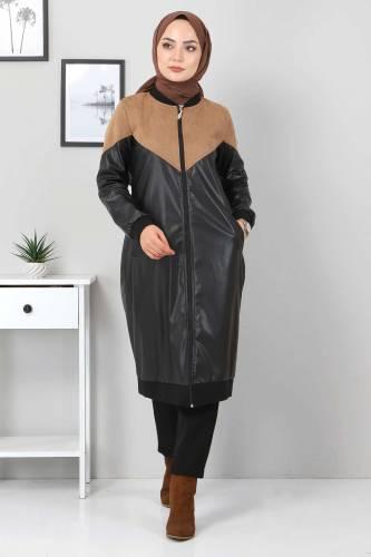 Tesettür Dünyası - Suede Detailed Leather Coat TSD8231 Light Brown