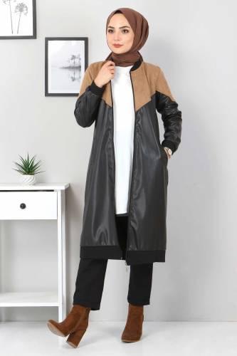 Tesettür Dünyası - Suede Detailed Leather Coat TSD8231 Light Brown (1)