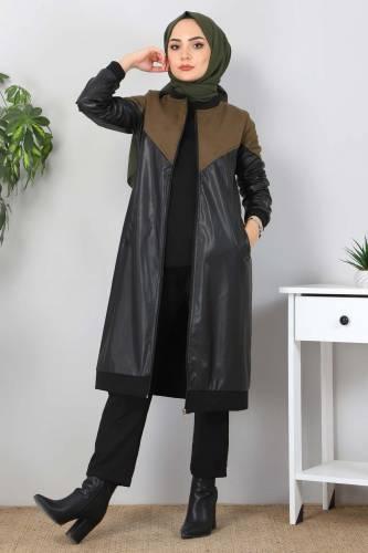 Tesettür Dünyası - Suede Detailed Leather Cover TSD8231 Khaki