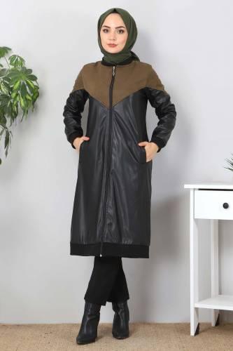 Tesettür Dünyası - Suede Detailed Leather Cover TSD8231 Khaki (1)