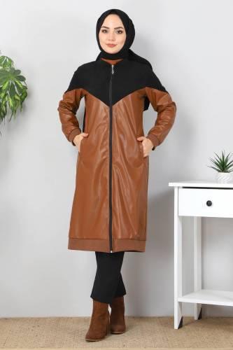 Tesettür Dünyası - Suede Detailed Leather Cover TSD8231 Black