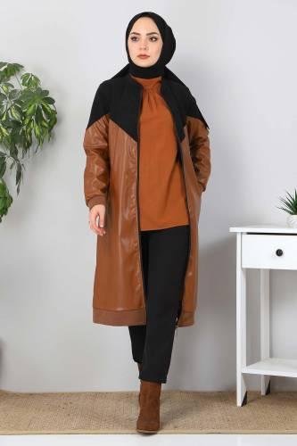Tesettür Dünyası - Suede Detailed Leather Cover TSD8231 Black (1)