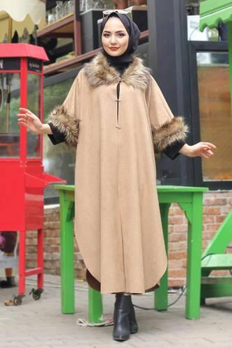 Tesettür Dünyası - Süet Uzun Panço TSD6006 Camel