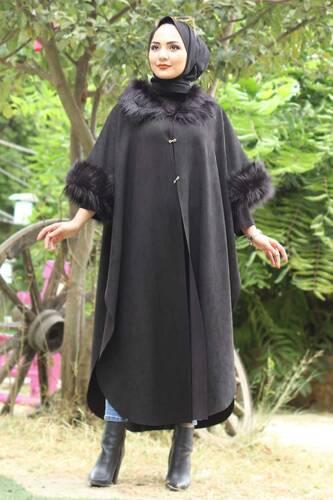 Tesettür Dünyası - Süet Uzun Panço TSD6006 Siyah