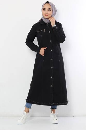 Tesettür Dünyası - Süs Fermuarlı Uzun Kot Kap TSD8555 Siyah