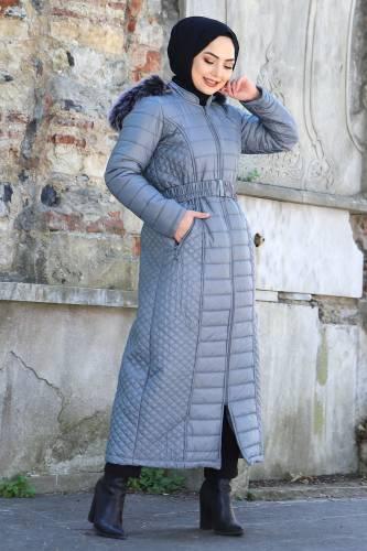 Tesettür Dünyası - Long Hooded Coat TSD1931 Silver