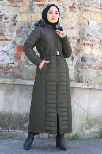 Tesettür Dünyası - Women's Long Coat TSD1931 Khaki