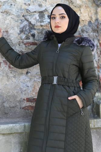 Tesettür Dünyası - Women's Long Coat TSD1931 Khaki (1)