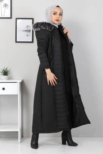 Tesettür Dünyası - Full Length Quilted Coat TSD1931 Black (1)