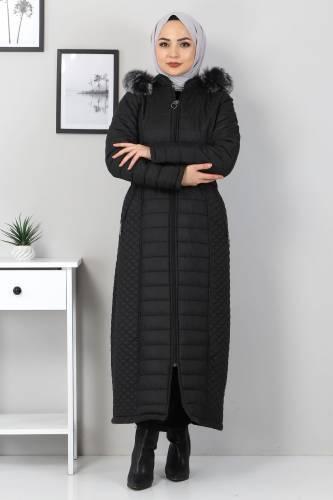 Tesettür Dünyası - Full Length Quilted Coat TSD1931 Black