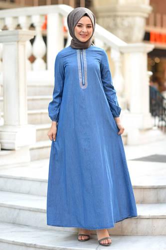 Tesettür Dünyası - Taş Detaylı Kot Elbise TSD4090 Açık