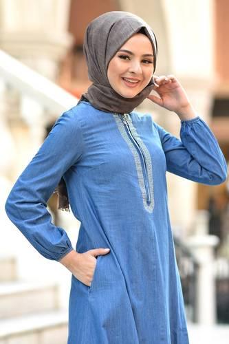 Tesettür Dünyası - Taş Detaylı Kot Elbise TSD4090 Açık (1)