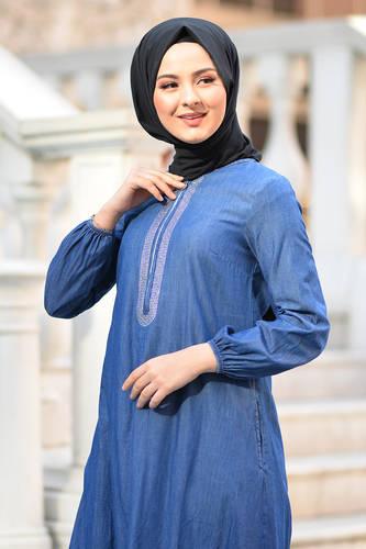 Tesettür Dünyası - Taş Detaylı Kot Elbise TSD4090 Koyu (1)