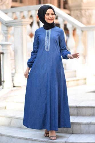 Tesettür Dünyası - Taş Detaylı Kot Elbise TSD4090 Koyu