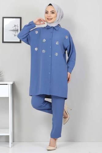 Taşlı İkili Takım TSD2522 Mavi - Thumbnail