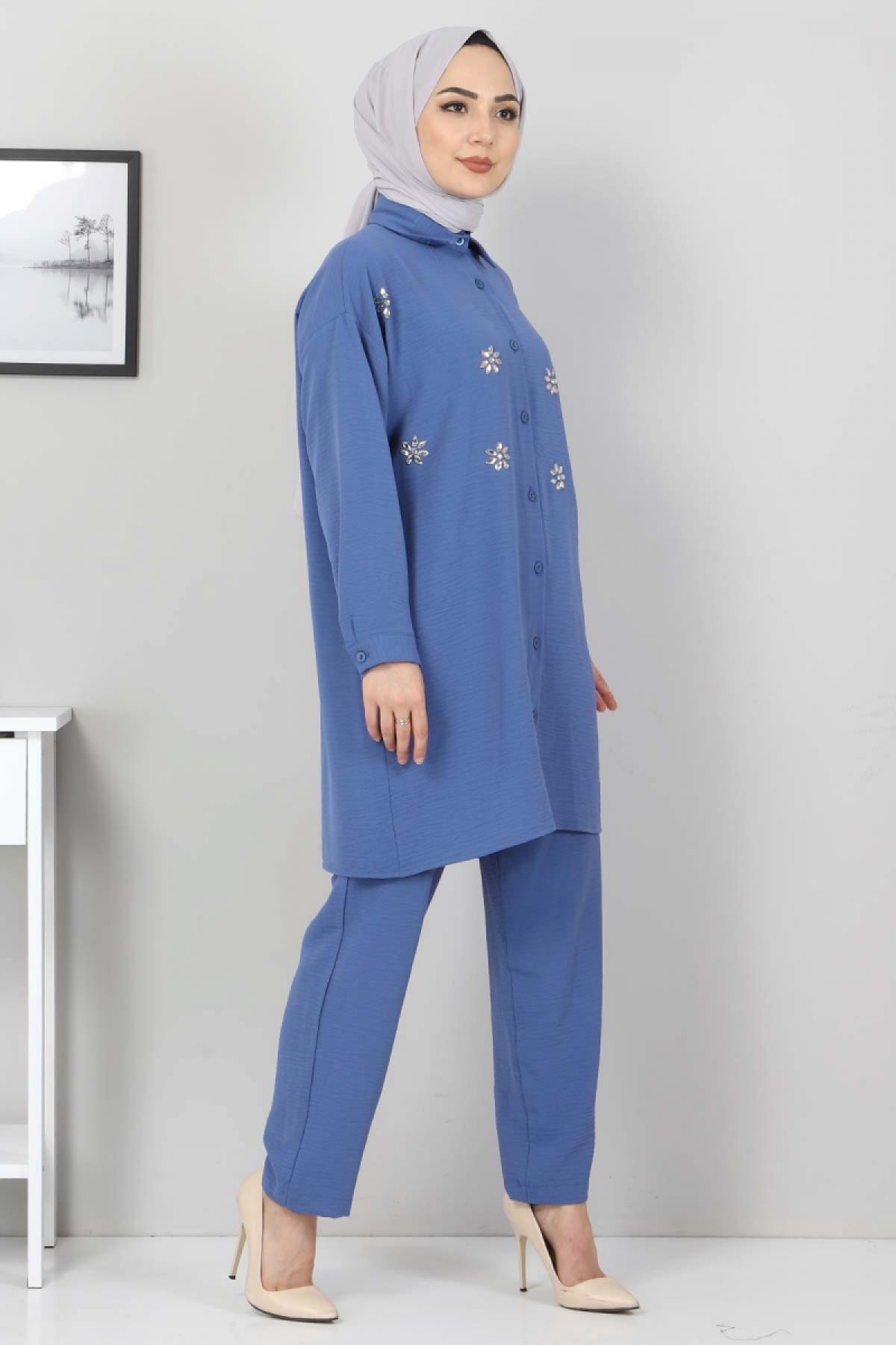 Taşlı İkili Takım TSD2522 Mavi