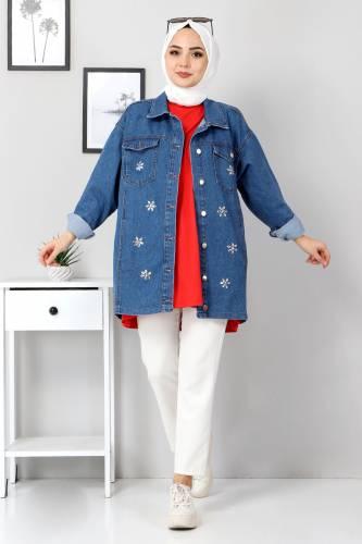 Tesettür Dünyası - Stone Jeans Jacket TSD22069 Blue