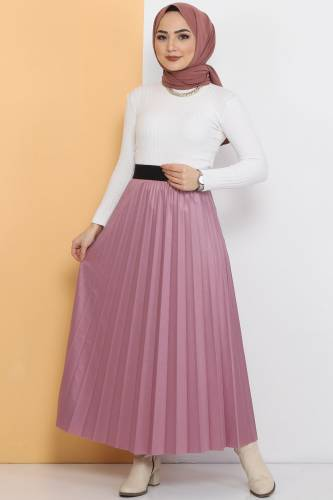 Tesettür Dünyası - TDS 1741 pink leather pleated skirt