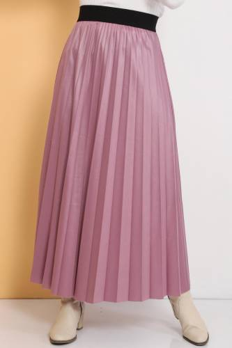Tesettür Dünyası - TDS 1741 pink leather pleated skirt (1)