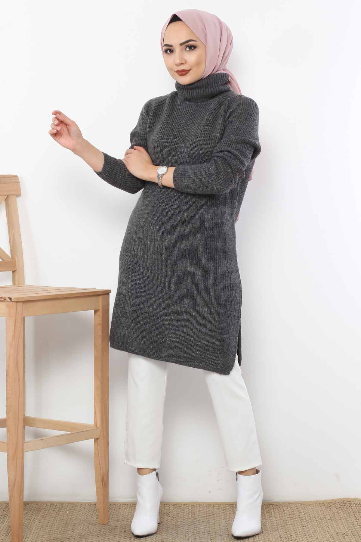 Throat Knitwear Tunic TSD6045 Charcoal color.