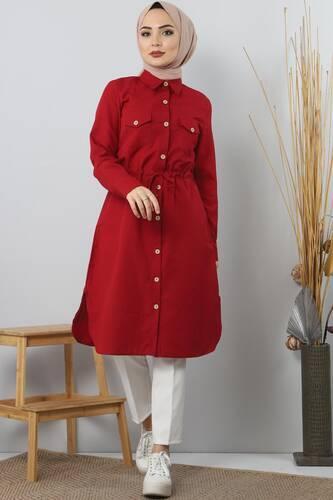 Tie Waist Tunic TSD1612 Dark Red. - Thumbnail