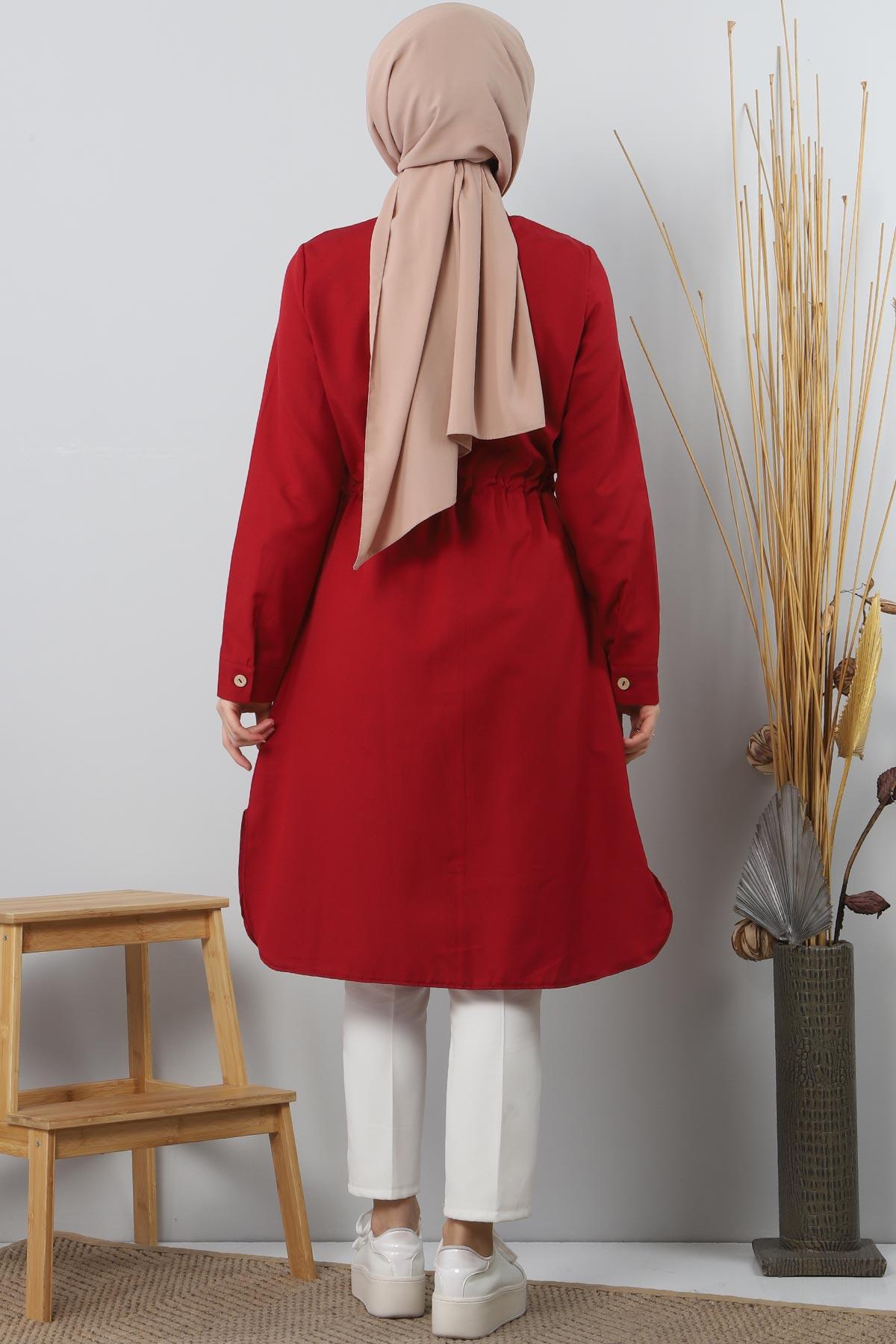 Tie Waist Tunic TSD1612 Dark Red.