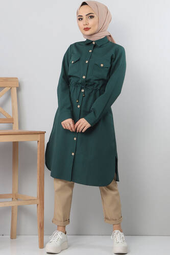 Tie Waist Tunic TSD1612 Green. - Thumbnail