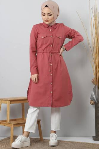 Tie Waist Tunic TSD1612 Pomegranate Color. - Thumbnail