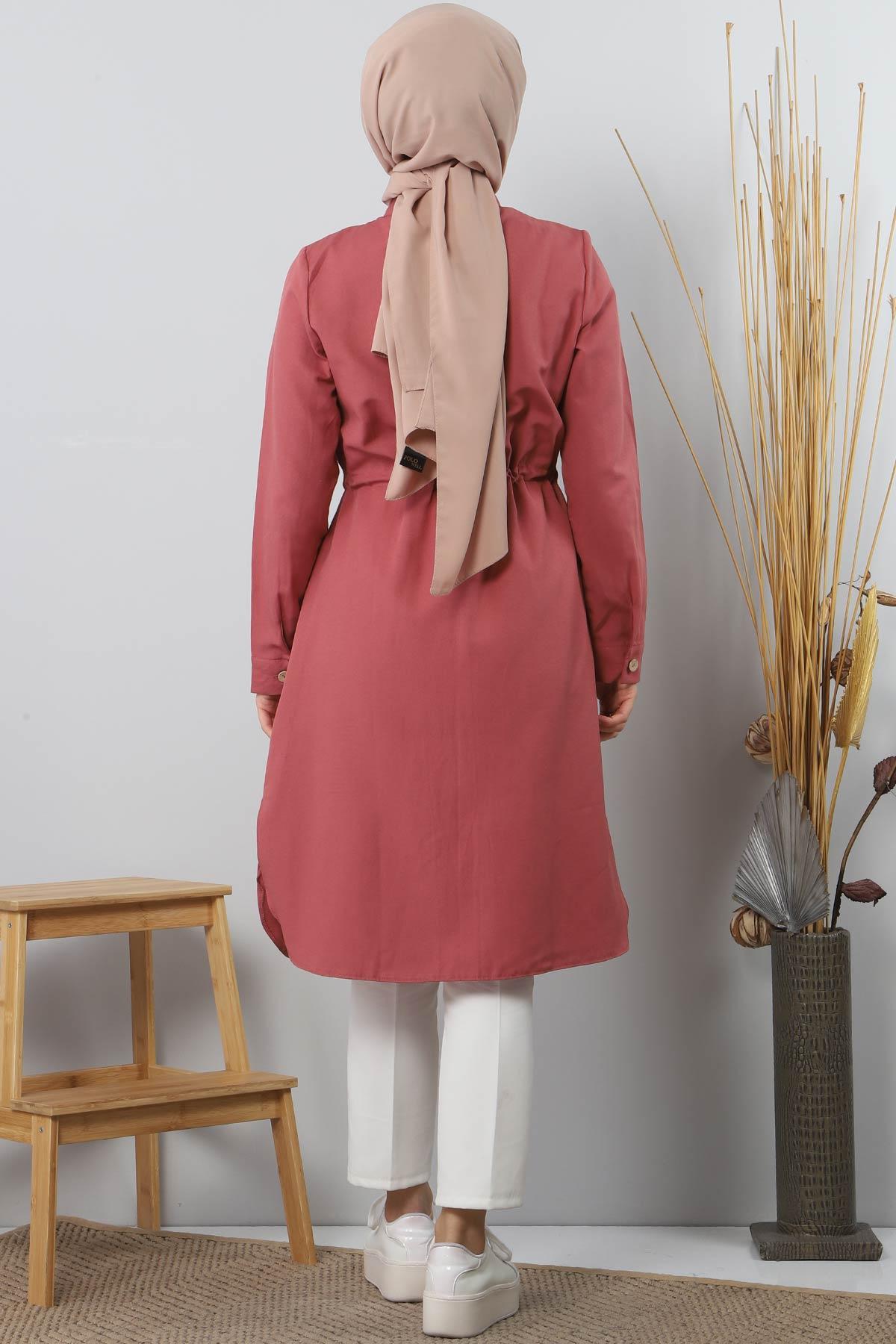 Tie Waist Tunic TSD1612 Pomegranate Color.