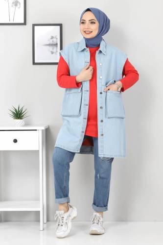 Tesettür Dünyası - Pocket Detail Jeans Vest TSD22042 Light Blue