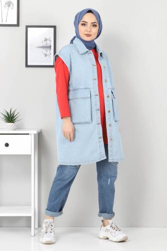 Tesettür Dünyası - Pocket Detail Jeans Vest TSD22042 Light Blue (1)