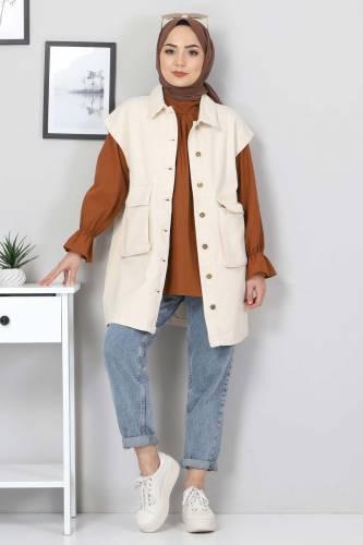 Tesettür Dünyası - Pocket Detail Jeans Vest TSD22042 Beige