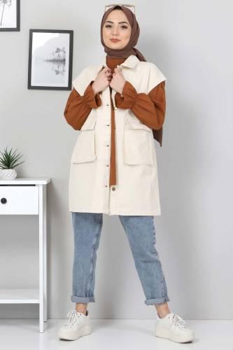 Tesettür Dünyası - Pocket Detail Jeans Vest TSD22042 Beige (1)