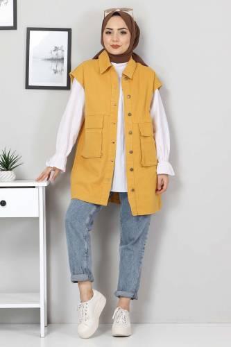 Tesettür Dünyası - Pocket-Detail Jeans Vest TSD22042 Dark Yellow