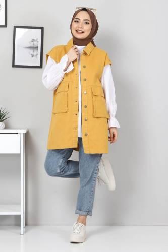 Tesettür Dünyası - Pocket-Detail Jeans Vest TSD22042 Dark Yellow (1)