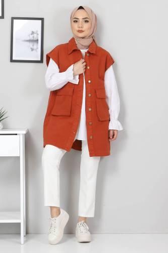 Tesettür Dünyası - Pocket-Detail Jeans Vest TSD22042 Brick Color (1)