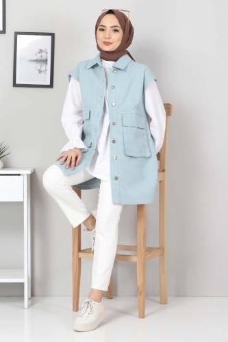 Tesettür Dünyası - Pocket-Detail Jeans Vest TSD22042 Mint