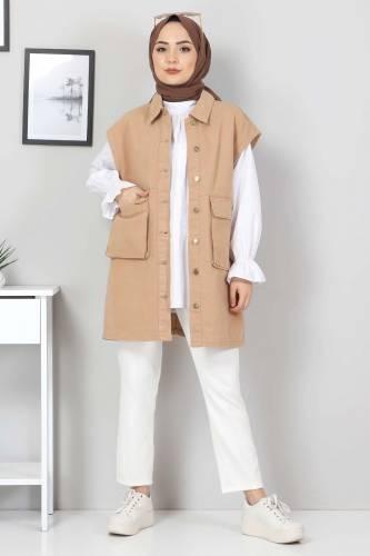 Tesettür Dünyası - Pocket Detailed Jeans Vest TSD22042 Light Brown