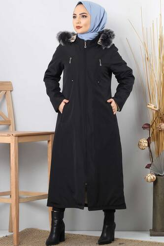 Trench coat zippered TSD9876 Black. - Thumbnail