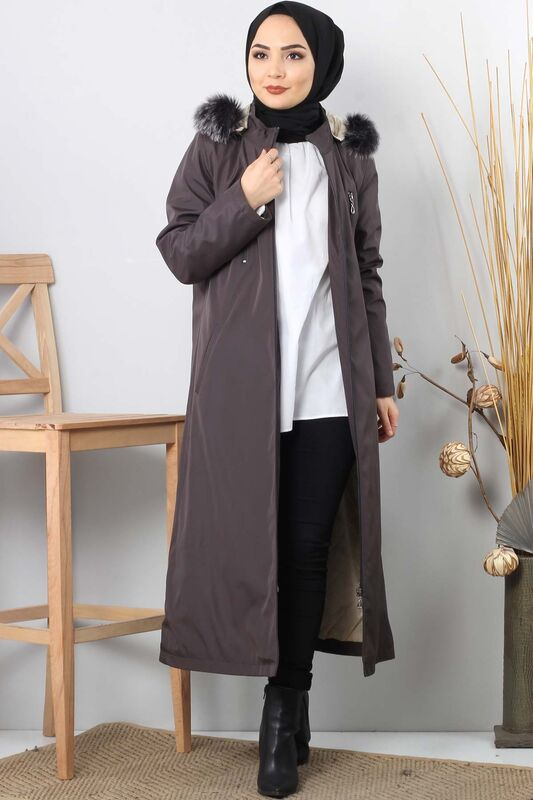 Trench coat zippered TSD9876 Dark Grey.