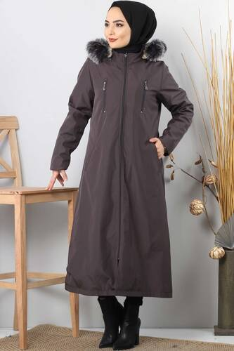 Trench coat zippered TSD9876 Dark Grey. - Thumbnail